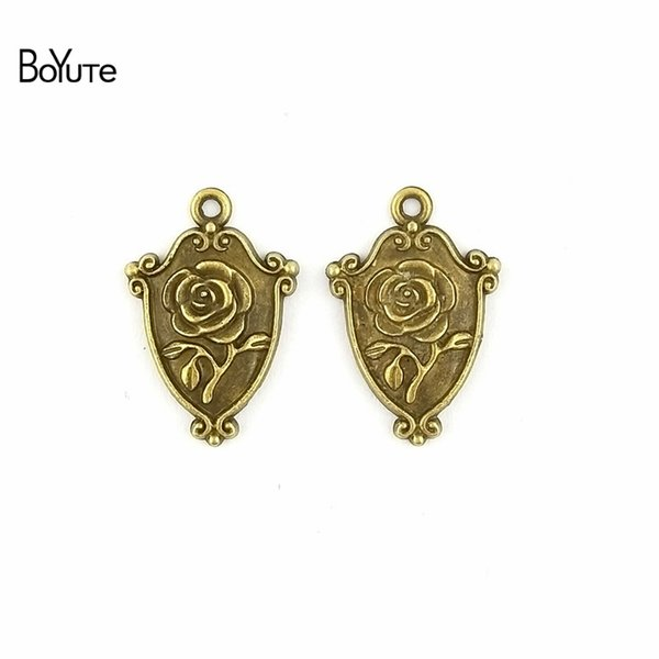 BoYuTe (60 Pieces/Lot) 16*24MM 2 Colors Zinc Alloy Vintage Zinc Alloy Rose Charms Shield Flower Pendants for Diy Jewelry Making Findings