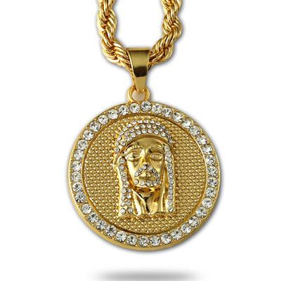 Hot Selling 24K Gold Plated Jesus face head Round Crystal Pendant Necklace Hip hop Rap Golden Rock Pendant Cuban Chain Necklace Men Jewelry