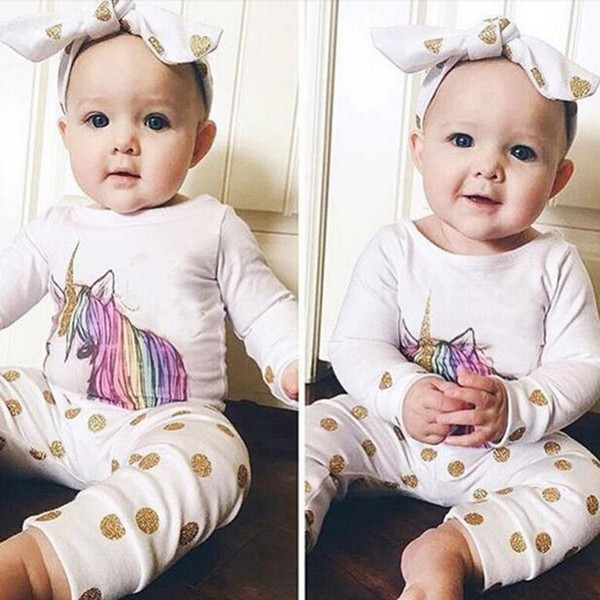Xmas Ins Girls Clothing Conjuntos Otoño Baby T-shirt Pantalones largos Big Bow Headbands 3pcs Sets Niños Ropa Unicornio Polka Gold Dot Printing DHT185