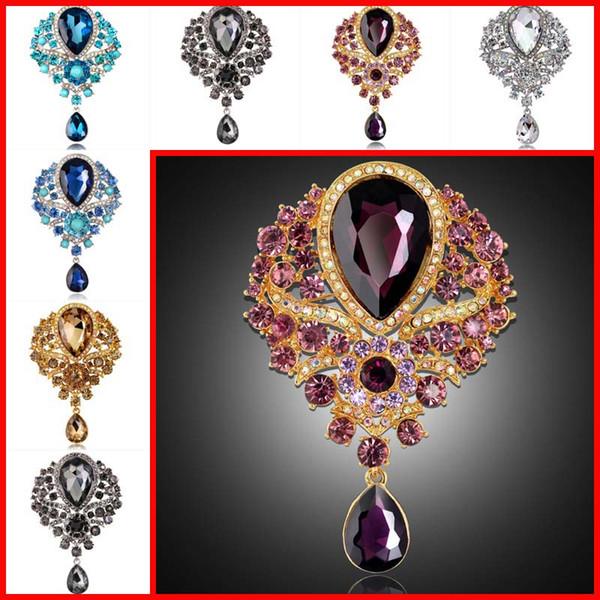 Rhinestone Crystal Brooches Crystal flower Water Drop Pendant brooch pins for women men Wedding jewelry Christmas gift DROP SHIP 170262