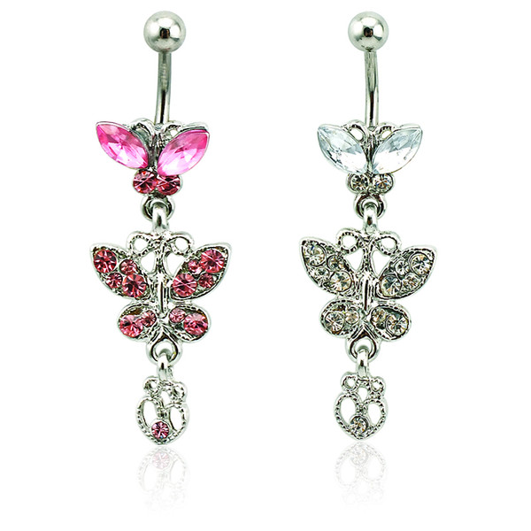 Body Piercing Fashion Belly Button Rings Surgical Steel Barbells Dangle 2 Color Rhinestone Butterfly Navel Rings Jewelry