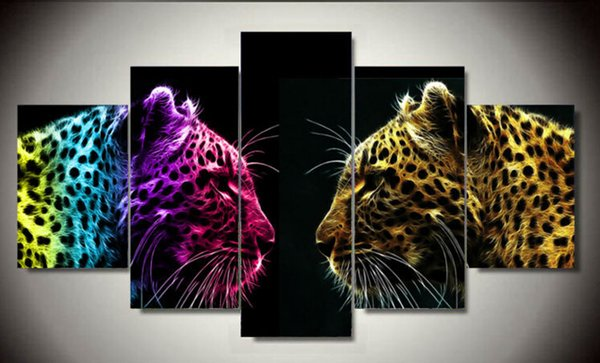 Framed Printed Leopard 5 piece picture painting wall art room decor canvas art Decor For Living Room Free shipping