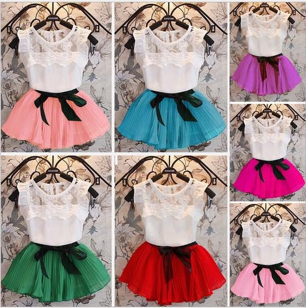 summer girls dress set Chiffon dresses for baby girl children fashion clothing short sleeve T-shirt tops+skirts 2pcs kids suit 7 colors