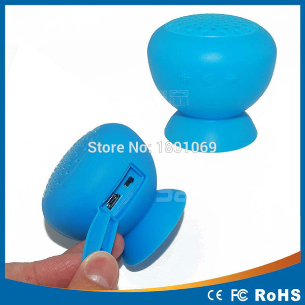High Quality Mushroom Mini Wireless Bluetooth Speaker Waterproof Silicone Sucker Hands Free Speakers For Android Devices PC Free shipping