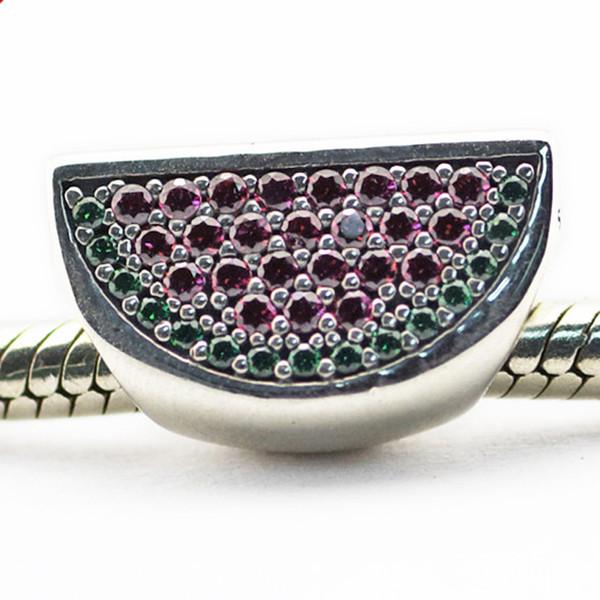 Проложить арбуз красный зеленый CZ 2016 лето 100% стерлингового серебра 925 бусины подходят Pandora подвески браслет аутентичные DIY ювелирных изделий