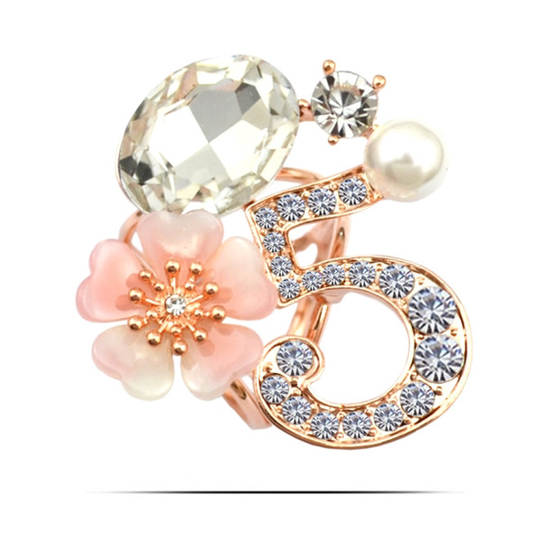 Crystal number 5 crystal flower brooches cat eye stone elegant fashion crystal concise classic high quality pin brooches GLN647