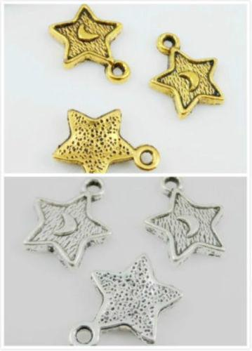 300Pcs Plated Silver Gold Star Moon Charms Pendant For Bracelet Jewelry Making 15x11mm