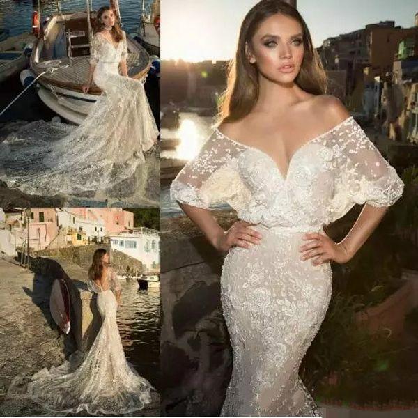 Julie Vino 2017 Mermaid Wedding Dresses Half Sleeve Lace Applique ...