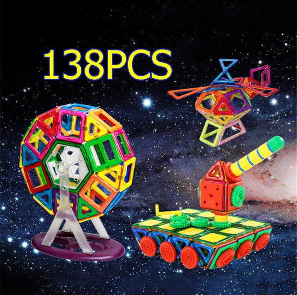 138 Pieces Magnetic Building Blocks Toys 3D Magnetic Building Blocks Educational Construction Building Bricks DIY Blocks Model Toy Gift