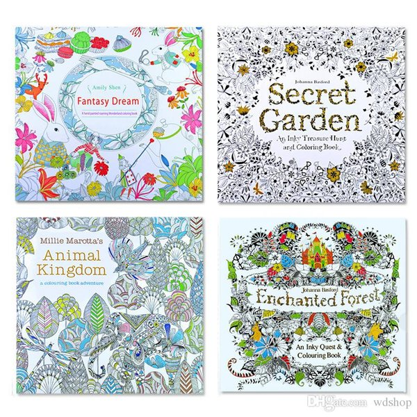 DHL Shipping Secret Garden Kids Coloring Book 24 Pages Animal Kingdom Enchanted Forest Fantasy Dream Painting