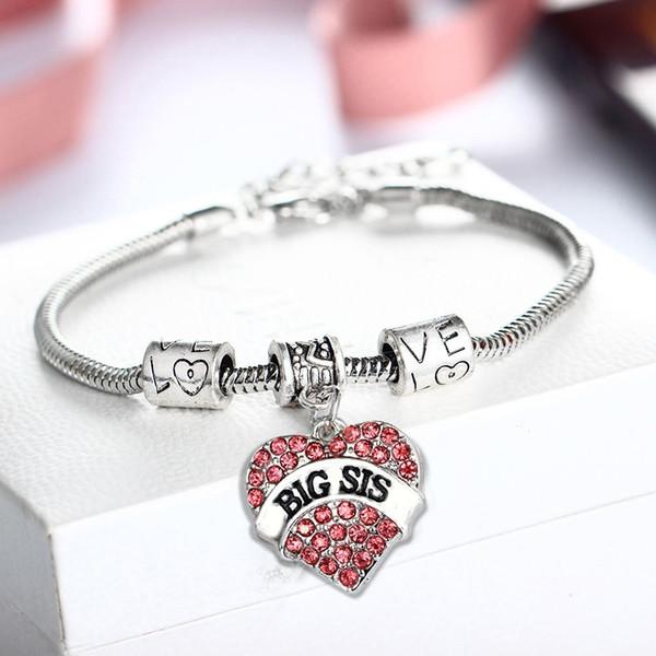 Women Jewelry Gift Crystal Daughter Silver Rhinestone Bracelet Heart Love Chain