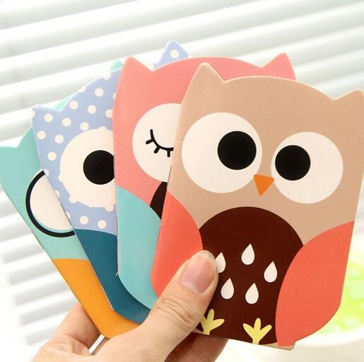 Wholesale- 1pcs/lot New Cute Owl design Kraft paper Mini tally book pocket notebook blank Inner Pages Notepad Memo pads
