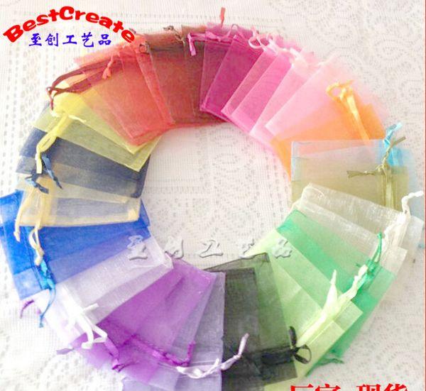 Envío gratis Jewelry Bags MIXED Organza Jewelry Wedding Party Xmas Bolsas de regalo Púrpura Azul Rosa Amarillo Negro Con Cordón 11 * 16 cm