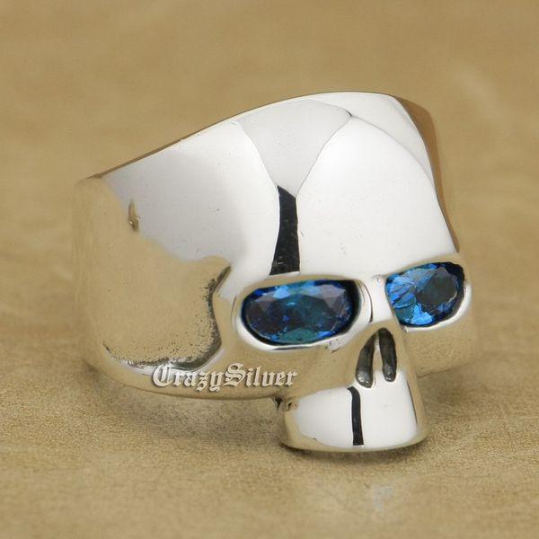 Dark Aquamarine Eyes 925 Sterling Silver Skull Mens Biker Rocker Punk Ring 9G103 US Size 7 ~ 15