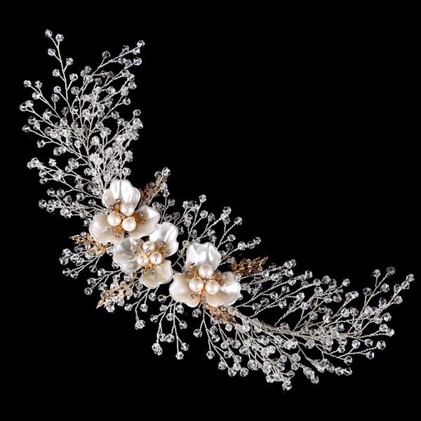 El yapımı Kristal Gelin Kafa Tiara Gümüş Altın Düğün Rhinestone Saç Aksesuarları Zarif İnci Başlığı İnciler Kadınlar Saç Takı