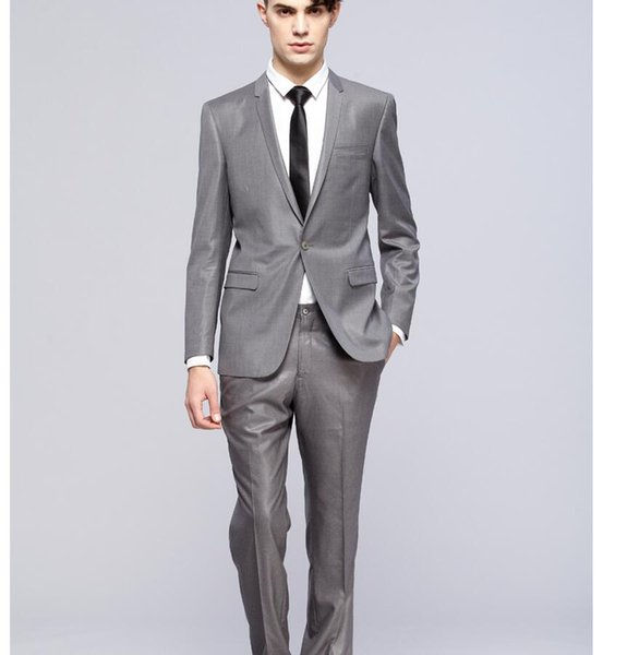 Custom Made One Button Shiny Silver Groom Tuxedos With Black Shawl Lapel Best Man Wedding Wears Groomsman Suits (Jacket+Pant+tie)