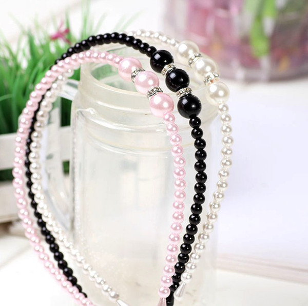 2018 Girls Pearl Hairband Crystal Jewelry Bead Princess Diadema Hair Band Accesorios 3 colores diadema para niñas y niños