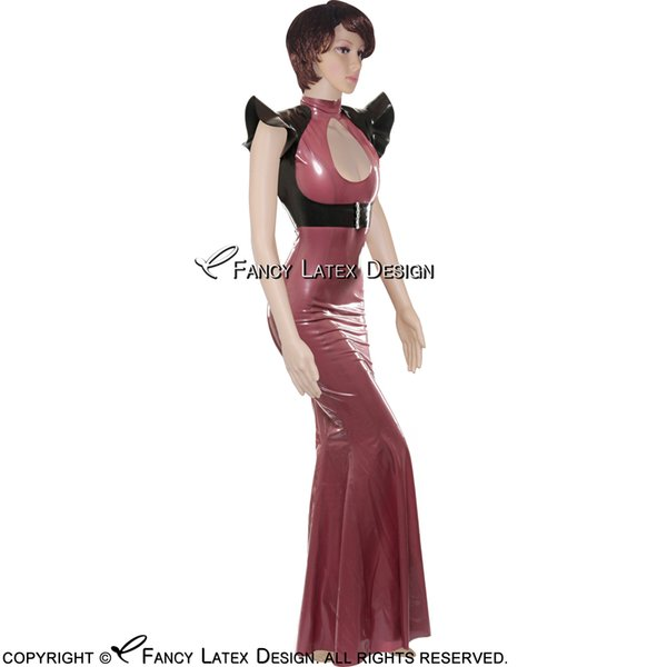 Black With Metallic Red Sexy Latex Dress Open Front Flare Kick Rubber Gown Fetish Bodycon Playsuit LYQ-0025
