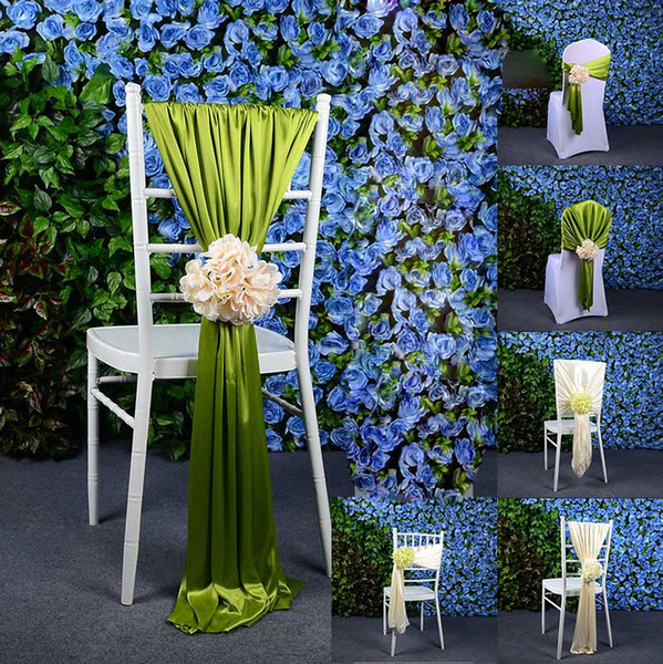 20 Pcs Lot Flower Jacquard Chair Covers For Wedding Ceremony Ribbon Chair Sashes Party Banquet Decoration Satin Sash Wedding Supplies