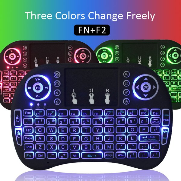 RII I8 Backlight Wireless Gaming keyboard Air Mouse Remote Control RED+Green+Blue color With Touchpad Handheld For TV Boxes