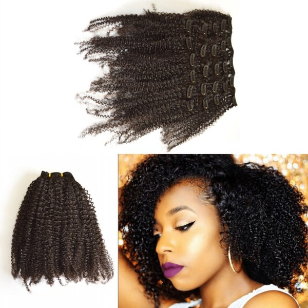 G-EASY African American Clip In Hair Extensions Human 7 Pcs Unprocessed Virgin Brazilian Afro Kinky Curly Clip In Hair Extension 120G