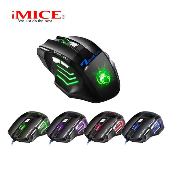 top popular Original iMICE X7 Wired Gaming Mouse 7 Buttons 2400DPI LED Optical Wired Cable Gamer Computer Mice For PC Laptop 2019