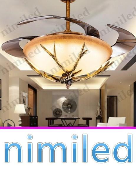 "best selling nimi918 42"" Invisible Ceiling Fan Lights Light LED Resin Antlers Creative Glass Living Room Restaurant Bedroom Chandelier Pendant Lamps"