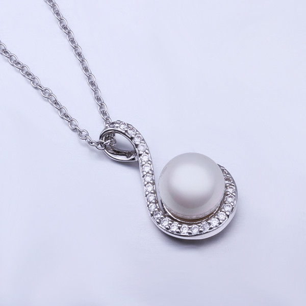Hot sale brand new 24k 18k white gold pearl pendant Necklaces jewelry GN555 Free shipping fashion gemstone shell necklace christmas gift