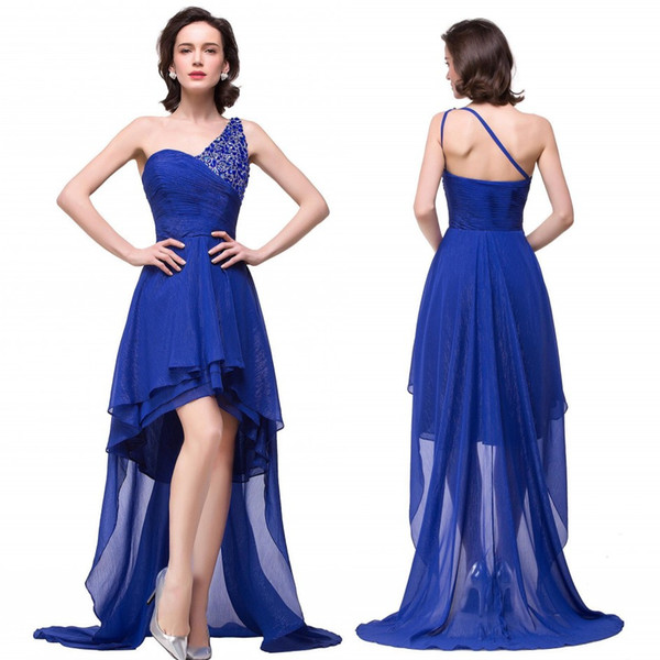 Royal Blue High Low Country Style Bridesmaid Dresses One Shoulder with Beads Real Image Summer Beach Maid of Honor Gowns BZP0890