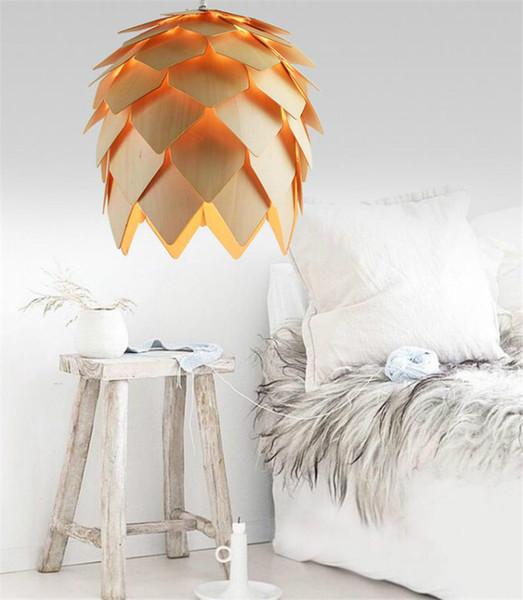 L10-fai da te in legno a led luci a sospensione pigmeo moderno fatto a mano iq puzzle casa ristorante appeso pigna legno lampadario luce ac100-240v