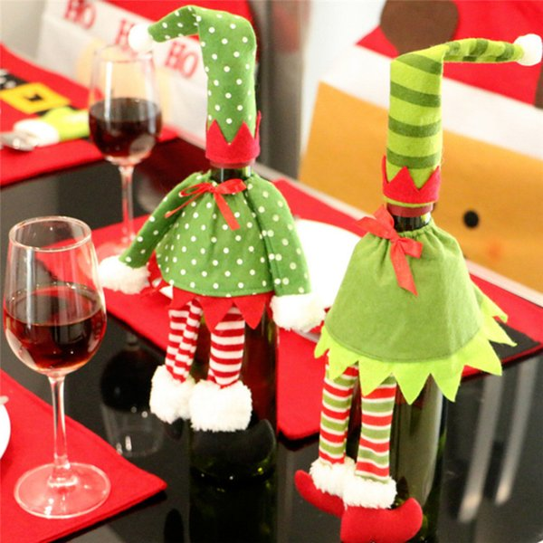 Wholesale- New Year Christmas Decorations Red Wine Bottle Cover Felt Fabric Bags Xmas Decoration For Home Party Christmas Gift Ornaments