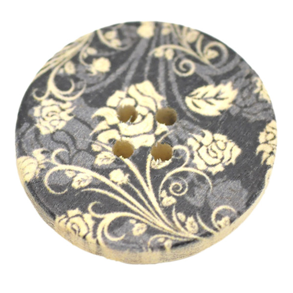 Toptan Nefis Çiçek Desen Yuvarlak Dört Delik Ahşap Düğmeler 30mm 100 adet Baskı Ahşap Düğmeler Diy