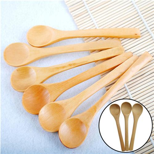 Wholesale- New 6pcs/Lot Mini Wooden Spoon Kitchen Cooking Teaspoon Condiment Utensil Coffee Spoon Kids Ice Cream Tableware Tool