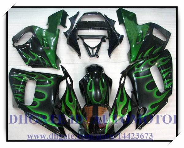 Injection fairing kit 100% fit for YAMAHA YZF R6 1998-2002 YZFR6 1998-2002 1999 2000 2001 YZF R6 98-02 #RQ224 BLACK GREEN FLAME