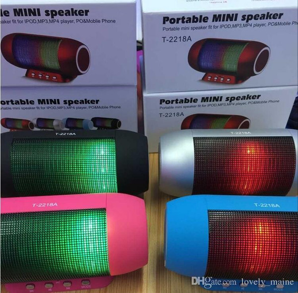 T-2218A Portable LED Light Pulse Mini Bluetooth Speaker Wireless Subwoofer High Power With Stand USB TF Card Slot Audio Player Handsfree MI