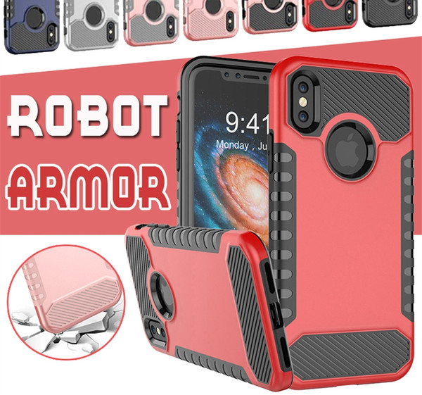 Hybrid Robot Armor Combo Soft TPU PC Back Case For iPhone X 8 7 6 6S Plus Phone Cases Dual Layer Rugged Shockproof Cover For Samsung Note 8