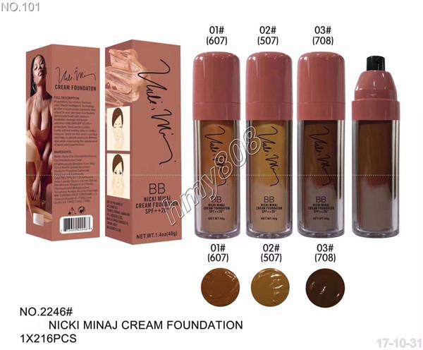 NEW Makeup BB Nicki Minaj Cream Foundation SPF++20 Waterproof Face Powder Foundation Liquid 4 color