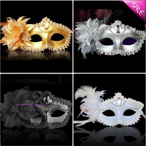 Luxury Diamond Woman Mask on Stick Sexy Eyeline Maschera veneziana per feste Maschera di paillettes Bordo in pizzo Fiore laterale Oro Argento Colore nero bianco