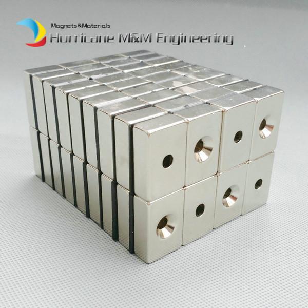 20pcs NdFeB Fix Magnet 30x20x10mm with M5 Screw Countersunk Hole Block N42 Neodymium Rare Earth Permanent Magnet