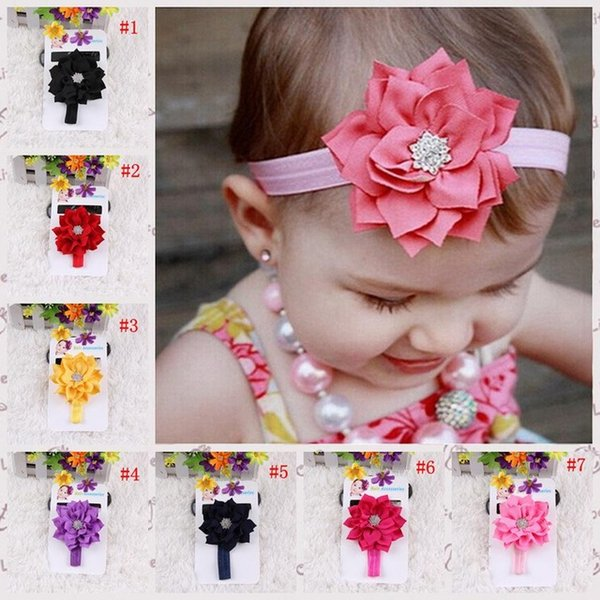 Boutique baby girl hair acce orie girl flower hair band kid double lotu leaf diamond headband infant toddler headwear 13 color