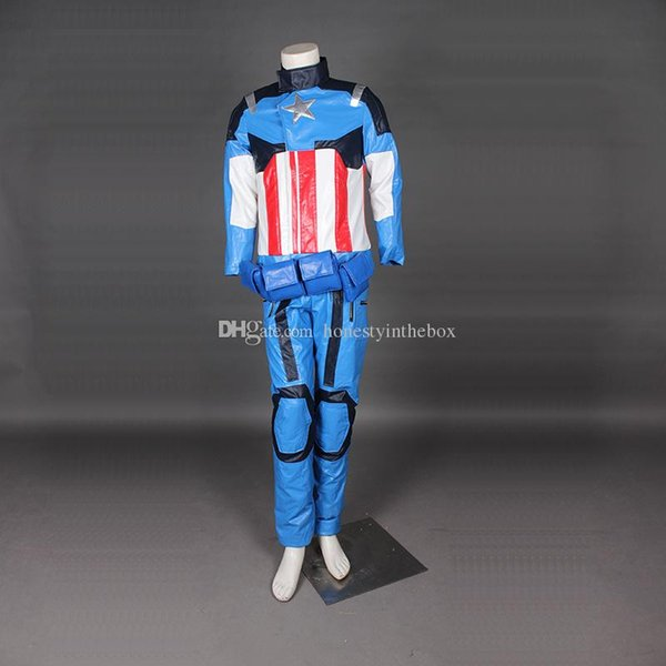 2016 Blue Captain America Outfit Cosplay Costumes Superhero Steve Rogers Cosplay Costumes For Halloween
