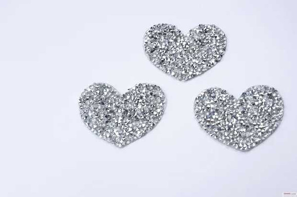25pcs/lot Heart design Hotfix rhinestones Motifs Iron on Patches heat transfer Motif crystal strass Applique for clothing craft