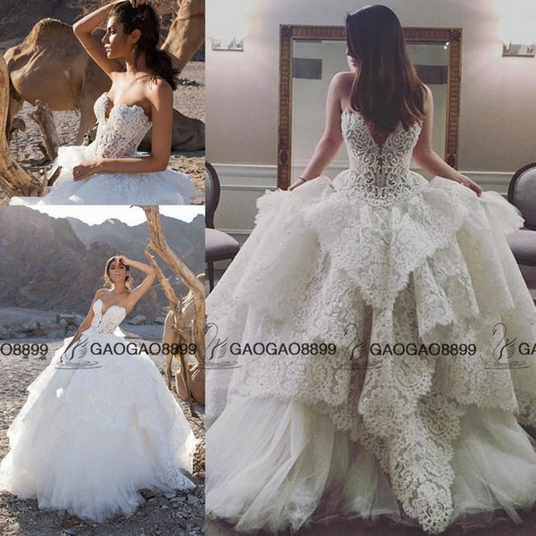 Strapless Lace Ball Gown with Pearl Beaded Bodice Pnina Tornai Wedding Gown 2019 puffy Skirt Church Train Plus Size Wedding Dress