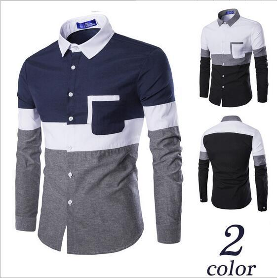 Long Sleeve Cotton Shirts For Men Personalize Patchwork Men Dress Shirt Single Breasted Slim British Type Casual Shirt Mens J160803