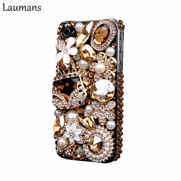 Laumans Mobile Phone Cover For Iphone 6 6s 7 Plus Case Bling Gold Crystal Flower Bag Diamond Rhinestone Cover For Iphone X 8plus