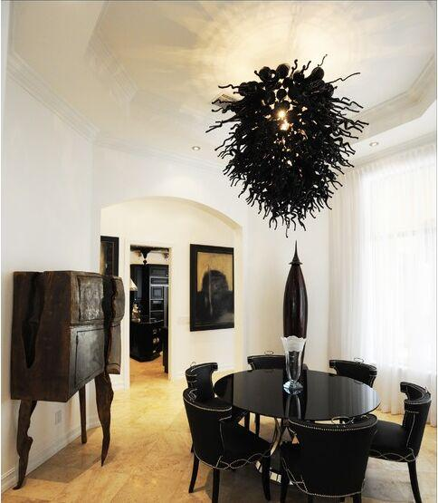 Vintage Black Chandelier Light Living Room Art Decorative Led Light Source Elegant Hand Blown Glass Chandelier Multi Light Pendant Brass Ceiling