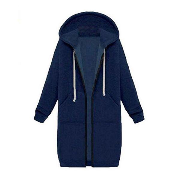 New Womens Casual Zip up Hoodies Coats Pockets Tunic Sweatshirt Long Hoodie Outerwear Jacket