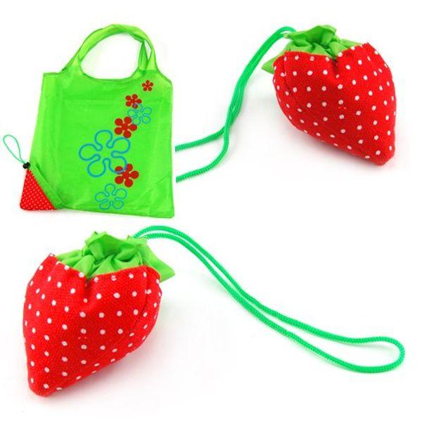 best selling 100pcs lot PVC Portable Strawberry Bags Eco Reusable Shopping Bag Tote Folding Foldable Bag Free Shipping