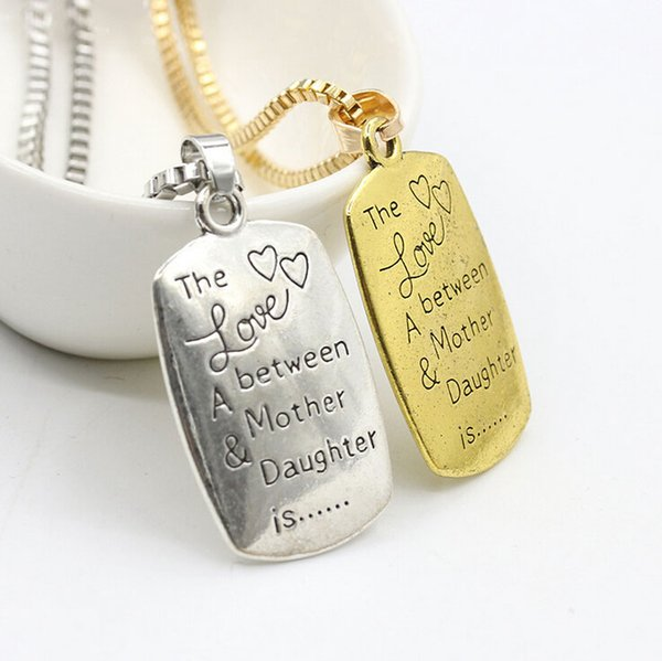 """Vintage Statement Necklace """"The love Between A Mother and daughter""""Carved Charm Pendant Gift Jewelry Gold or Silver Statement Necklaces"""