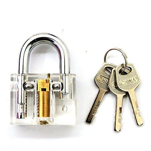Crystal Visible clear padlock Professional Cutaway Inside view of Practice Keyed locks Training Skill Pick for Locksmith